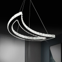 Moon-Shaped Clear Crystal Chandelier Contemporary Stainless-Steel LED Hanging Pendant Light in Warm/White Light