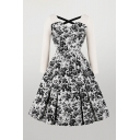 Fashion Ladies Ditsy Floral Printing Criss Cross Cut Out Back Patchwork Mesh Midi Fit & Flared Dress White Dress