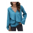 Trendy Ladies Solid Color Long Sleeve V-neck Ruffled Trim Relaxed Fit T Shirt in Blue