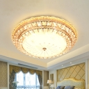 Beveled Crystal Round Flush Light Simple LED Gold Ceiling Flush Mount with Dandelion Design