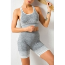 Sportswear Womens Stripe Printed Scoop Neck Contrasted Slim Fitted Bustier in Gray