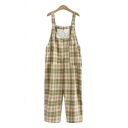 Simple Girls Overalls Plaid Princess Star High Heeled Shoes Embroidery Pocket Button Ankle Length Overalls