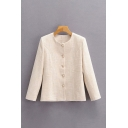 Trendy Womens Solid Color Pearl Buttons Collarless Long Sleeve Regular Fit Cardigan Coat in White