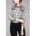 Apricot Stylish Scarf Print Single Breasted Spread Collar Long Sleeve Regular Fit Shirt for Women