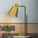 Conic Metal Table Lamp Simplicity Single Light Brass Night Lighting with Adjustable Head Design