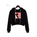 Funny Cat and Hand Pattern Long Sleeve Black Cropped Drawstring Hoodie