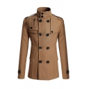 Mens Popular Solid Color Lapel Double Breasted Split Back Camel Wool Jacket Peacoat