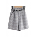 Stylish Ladies Shorts Checked Pattern Belted Pocket Zipper Fly Button High Rise Half Elastic Shorts