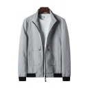 Mens Jacket Unique Pockets Cuffed Button Detail High Neck Regular Fit Long Sleeve Casual Jacket