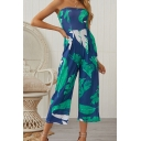Womens Jumpsuits Classic Banana Leaf Pattern Shirred Detail Sleeveless Strapless Regular Fitted Capri Wide Leg Jumpsuits