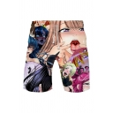 Ahegao Anime Comic Girl 3D Printed Drawstring Waist Cotton Athletic Shorts for Men
