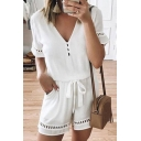 Vintage Womens Rompers Solid Color Cut-out Deep V-Neck Regular Fitted Short Sleeve Rompers