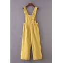 Classic Womens Jumpsuits Plain Stringy Selvedge Front Button Detail Pleated Sleeveless Strap Loose Fitted Jumpsuits