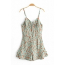 Womens Rompers Simple Ditsy Floral Pattern Tie-Front Backless Spaghetti Strap Loose Fitted Sleeveless Rompers