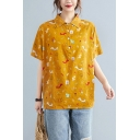 Trendy Womens Cartoon Printed Button Front Turn-down Collar Short Sleeve Loose Fit Shirt