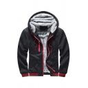 Vintage Mens Hoodie Stripe Trim Fleece-Lined Drawstring Zipper Fly Long Sleeve Slim Fit Hooded Sweatshirt