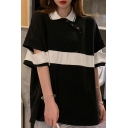 Pop Color Block Grommets Turn-down Collar Half Cut-Out Sleeve Loose Fit Tunic T-Shirt for Women