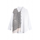 Trendy Womens Striped Color Block Asymmetric Hem Button Up Turn-down Collar Long Sleeve Loose Fit Shirt