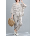 Basic Girls Linen and Cotton 3/4 Sleeve V-neck Button Up Stripe Printed Loose Shirt & Ankle Fitted Pants Set