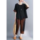 Retro Plaid Printed Patchwork Slit Asymmetric Hem Half Sleeve Round Neck Relaxed Fit T-Shirt & Pocket Ankle Length Pants Set