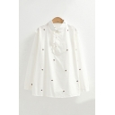 White Elegant All over Strawberry Embroidered Stringy Selvedge Button Front Peter Pan Collar Long Sleeve Regular Fit Shirt for Women