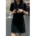 Adorable Womens Stringy Selvedge Contrasted Pipe Short Sleeve Polo Collar Knitted Short A-line Dress