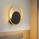Metallic Circular Wall Mount Light Simplicity LED Black Flush Wall Sconce for Bedroom