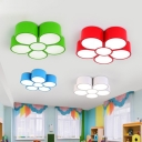 Modernist Flower Flush Mount Lamp Acrylic Children Bedroom LED Ceiling Flush in Red/Yellow/Blue