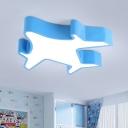 Aircraft Ceiling Flush Mount Contemporary Acrylic Yellow/Blue/Green LED Flush Light Fixture for Kindergarten