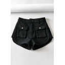 Womens Shorts Chic Plain Twill Side Split Patchwork Flap Pockets Zipper Fly Regular Fitted A-Line Denim Shorts