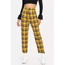 Women's Fancy Trousers Check Stripe Pattern Straight-leg Full Length High Waist Zip Placket Relaxed Trousers