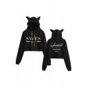 Fashion Colorful Drawstring Letter Swfs Print Long Sleeve Relaxed Crop Ears Hoodie