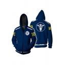 Sportswear Mens Number Logo Graphic Long Sleeve Zip Up Regular Fit Hoodie in Navy