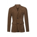 Winter Popular Long Sleeve Button Front Lapel Solid Color Chocolate Corduroy Jacket Coat