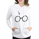 Unisex Popular Glasses Lightning Printed Long Sleeve Oversized Drawstring Hoodie