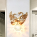 Gold Dome Wall Sconce Lighting Contemporary Crystal 1-Head Indoor Wall Lamp with Dual Swan Backplate