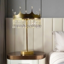 Modernism Crown Shaped Table Light LED Cut Crystal Night Lamp in Champagne for Bedside