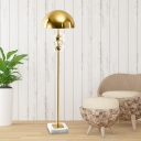 Contemporary Semicircle Floor Lamp 1 Light Metallic Floor Stand Light in Gold with Crystal Ball Deco