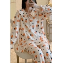 Pretty Womens All Over Pineapple Print Keyhole Tie Front Ruffled Stringy Selvedge Peter Pan Collar Long Sleeve Plus Size T-Shirt & Cuffed Full Length Pants Pajama Set in White