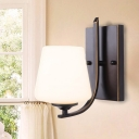 Countryside Conical Wall Lighting Fixture 1 Light White Glass Wall Light Sconce in Black