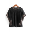Fashion Girls Floral Embroidered See-through Mesh Polka Dot Batwing Sleeve Round Neck Ruched Relaxed Fit Blouse Top in Black
