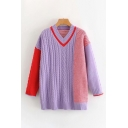 Leisure Color Block V Neck Long Sleeve Loose Tunic Cable Knit Pullover Sweater for Ladies