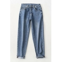 Trendy Womens Jeans Rivets High-rise Ankle Length Zip Closure Button Medium Wash Pockets Tapered Mom Jeans
