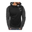 Casual Hooded Sweatshirt Color Block Ribbed Trim Snap Zipper Long-sleeved Slim Fit Hooded Sweatshirt for Men