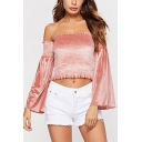 Sexy Ladies Solid Color Ruched Stringy Selvedge Backless Off the Shoulder Bell Sleeve Slim Fitted Cropped Blouse Top in Pink