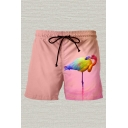 Mens 3D Casual Shorts Animal Flamingo Color Block Pattern Pocket Drawstring Mid Waist Mid Thigh Regular Fitted Relax Shorts