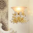 Angel and Flower Resin Wall Sconce Country 1 Head Living Room Wall Lighting Fixture in Beige/Gold with Bell Ribbed Glass Shade