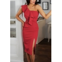 Pageant Solid Color One Shoulder Ruffled Slit Side Mid Sheath Dress for Ladies