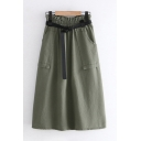Basic Womens Solid Color Elastic Waist Belted Long A-line Skirt