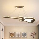 Guitar Ceiling Pendant Light Simplicity Beveled Crystal LED White Chandelier Lamp Fixture